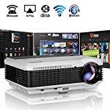 Wifi Beamer Bluetooth Android 6.0 HD Videoprojektor 3600 Lumen LED 4500:1 Kontrast Unterstützt 1080P HDMI VGA AV USB Heimkino Projektor für PC Smartphone TV Laptop Videospiele Telefon iPad DVD Player