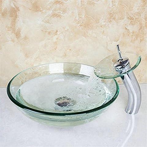 Modylee Cuarto de baño de cristal transparente lavabo lavabo encimera lavabo de tocador vaso de vidrio templado enviar con grifo de cascada Accesorios de baño lavabo Lavabo del baño