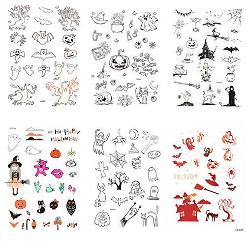 Spestyle Halloween Tattoo Aufkleber 6pcs Luminous temporäre Tätowierung Aufkleber in 1 Paket, einschließlich Hexe, Fledermaus, Katze, Spinnennetz, Kürbis, Teufel, Elf, Engel, Schädel Kopf, - Paint Halloween-kürbis-body
