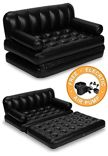 HSR 5 in 1 Inflatable Three Seater Queen Size Sofa Cum Bed with Pump