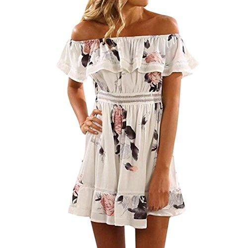 FrauenKaloryWee Damen Print Off Schulter Schmetterling Drapierte Kleid Kurze Elegante Sommerkleid (Small) (Kürzer Stretch-körper)