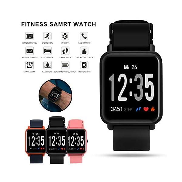 Fitness Tracker IP68 Impermeable Monitor, Letopro Rastreador de Pulsera Actividad Smartwatch Soporte Monitor de ritmo cardíaco Podómetro de presión arterial para Android IOS Mujeres Hombres 3