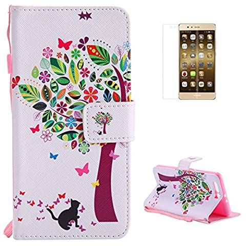 Huawei P10 Plus Premium Flip Leather Case,[with Free Screen Protector] KaseHom Magnetic Closure Wallet Type Elegant Colourful Tree Butterfly Unique Pattern Design with [Card Slots][Anti-Scratch Bumper] Multi-function Protective Cover Holster for Huawei P10 Plus