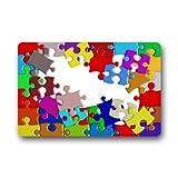coloré sensibilisation à l'autisme pièces de puzzle lavable en machine Dessus Tissu et dos en caoutchouc antidérapant Paillasson Paillasson 45,7x 76,2cm