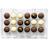 DECORA molde de chocolate 1/2 de Esfera, de policarbonato, transparente, diámetro 25 mm, 200 x 120 x 22 mm