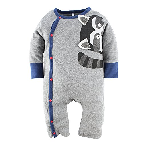 BIG ELEPHANT Baby Jungen' 1 Stück Snap-Up Langarm Spielanzug Pyjama G83