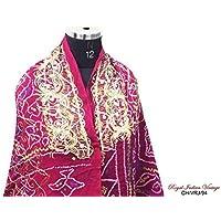 tessuto vintage dupatta indiano cucito miscela hijab decorazioni per la casa tenda ricamata drappo di seta georgette utilizzato bandhani tessuto artigianale stampati donne velo marrone cucire avvolgere abito sari mestiere tessuto lunga stola riciclato sciarpa hijab - Velo Abito