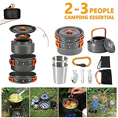 Jetcloud Camping Cookware Kit Outdoor Aluminum Cooking Set for 2 to 3 People Non Stick Folding Camping Pans and Pots Travelling Camping Hiking Picnic BBQ Orange 3