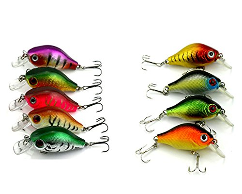hengjia Lot de 9 petits crankbaits Swimbait Bionic leurres de pêche de 0.3oz/8.3g-5.5 cm shad leurre truite rivières