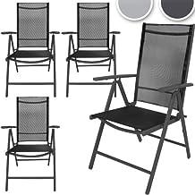 Miadomodo  - Juego de 4 sillas de aluminio - Gris oscuro.