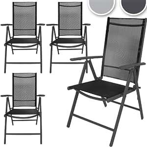 Garden Chair (4pc) High Back Seating Aluminium Synthetic Woven Fabric Furniture (dark grey)