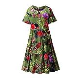 Sonojie Fashion Damen Plus Size O-Neck Easy Print Button Kurzes Kleid aus Baumwolle und Leinen