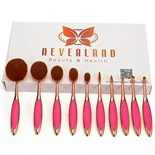 Neverland Beauty 10pcs/set Toothbrush Fondation Shape Sourcils Maquillage Kits Pinceau Poudre Pinceau Makeup Brushes Rose Gold +Rose Red