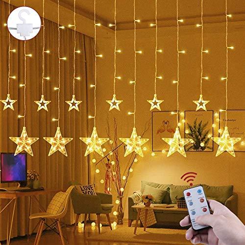 LED Lichtervorhang 12 Sterne Weihnachtsbeleuchtung - Avoalre 108 LEDs Sternenvorhang Fernbedienung mit Timer + 8 Leuchtmodi + 4 Dimmung IP44 wasserdicht Weihnachtsdeko für Fenster Balkon Innen Außen