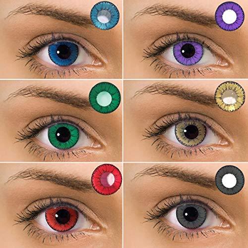 Farbige Kontaktlinsen Weich Kosmetik Jahreslinsen ohne Stärke 0.00 Dioptrien Blau 1 Paar (2 Stück)