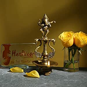 Two Moustaches Dancing Ganesha Brass Oil Diya with Base