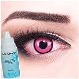 Farbige pinke Crazy Fun Kontaktlinsen Rose Lunatic mit gratis Linsenbehälter + 60ml Pflegemittel, Topqualität zu Fasching, Karneval und Halloween