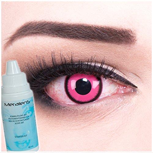Black Geist Kostüme Rose (Farbige Kontaktlinsen Rose Lunatic in rosa + 60ml Pflegemittel + Behälter - Funnylens Markenqualität, 1Paar (2 Stück) farbige lenses perfekt zu Halloween, Karneval, Fasching oder)