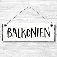 Balkonien - Balkon Dekoschild Türschild Wandschild aus Holz 10x30cm - Holzdeko Holzbild Deko Schild zur Dekoration Zuhause im Büro auch perfekt als Geschenk Mitbringsel zum Geburtstag Hochzeit Weihnachten für Familie Freundin Mutter Schwester Tochter