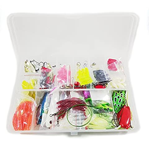 Lures Kit Fishing Baits 6 Hard Lures + 68 Soft Lures (Grubs Tubes Worms Craws Crickets) + 50 Terminal Tackles (Jigheads Hooks Beads Rings Swivels)