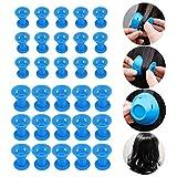 Silikon Lockenwickler 30 Stück, Wafly [ 15PCS Kleine+15PCS Large] Magic Haarspulen DIY Lockenwicklern Rollen Multistyler Hair Styling Locken ohne Hitze,Sicheres Haarpflege Werkzeug-Blau
