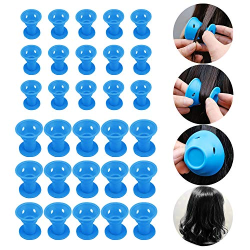 Wafly Bigoudis Magiques Silicone 30 pcs, [15 Petit + 15 Grand] DIY Bigoudis Flexibles Rouleaux Cheveux Coiffure des Cheveux Outils de Coiffure Salon Roller pour Cheveux Courts et Boucles Larges-Bleu
