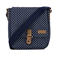 Urban Beach Cross Body Strap Dots Canvas Bag, 22 cm, Navy Blue