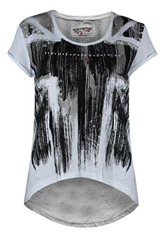 trueprodigy Casual Damen Marken T-Shirt mit Aufdruck, Oberteil cool und stylisch mit Rundhals (kurzarm & Slim Fit), Top für Frauen bedruckt Farbe: Weiß 1072517-2000 White