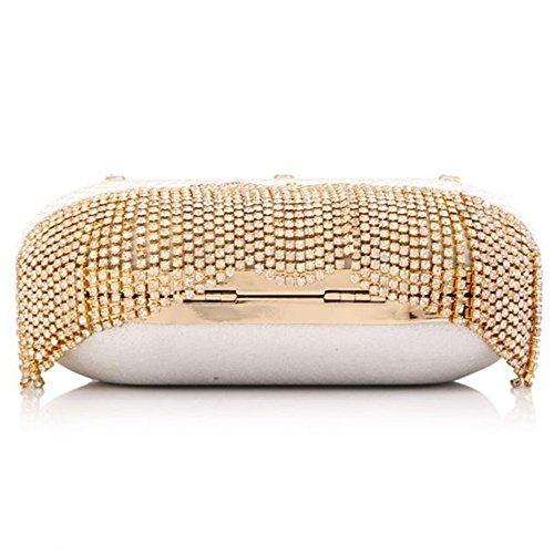 ERGEOB® Donna Clutch sacchetto di sera borsetta Clutch piccola perla diamante Fringedtaschino Borsa della sposa matrimonio taschino 523bianco