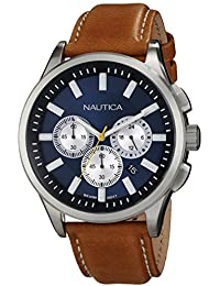 Nautica Men s N16695G NCT 17 Brushed Stainless Steel Watch with Brown Band 368784eec39