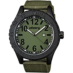 INFANTRY® Mens Analogue Quartz Wrist Watch Date Green Dial Textile Strap