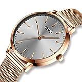 CIVO Relojes para Mujer de Acero Inoxidable Impermeable Relojes de Pulsera Señoras Chicas Adolescentes Fresco Moda Diseñador Negocios Casual Reloj Analógico (Oro Rosa/Gris)