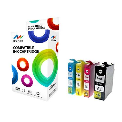 Preisvergleich Produktbild NPC Print 4 XL PREMIUM Druckerpatronen kompatibel für Epson T1301 T1302 T1303 T1304 für Epson Stylus SX525WD, SX535WD, SX620FW; Stylus Office B42WD, BX525WD, BX535WD, BX625FWD, BX625FWD Pro Edition, BX630FW, BX635FWD, BX935FWD; WorkForce WF-3010DW, WF-3520DWF, WF-3530DTWF, WF-3540DTWF, WF-7015, WF-7515, WF-7525 (Schwarz Cyan Magenta Gelb)
