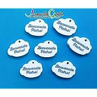 Cartellini nuvoletta personalizzati, 30 pezzi, bigliettini bomboniere, nuvola, tag, etichette,matrimonio, battesimo, comunione, cresima