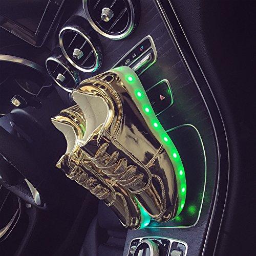 2016quattro stagioni scarpe scarpe casual uomo e donna luminoso LED, 2colori EU35–44 Men Gold