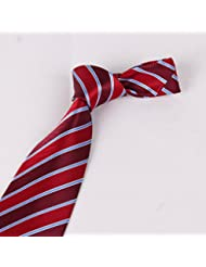 Cravate tissée classique de motif rayure en polyester- rouge