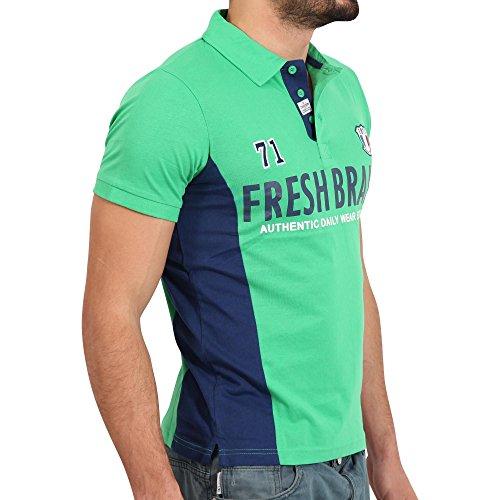 FRESH BRAND Herren Kurzarm Polo Shirt in Grün/Dunkelblau Grün