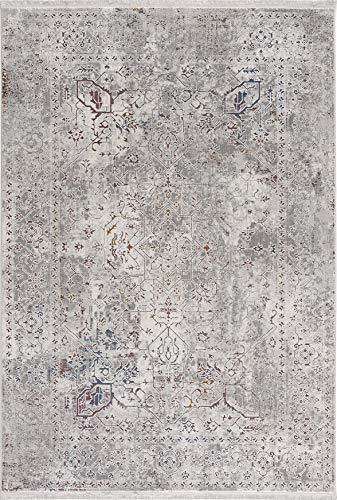 Ladeco Design Teppich Vintage Used Antik Classic Look mit dezenten Farbakzenten grau (80 x 150 cm)