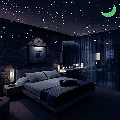 Glow in The Dark leuchtende Sterne und Mond 3D leuchtende Wand Aufkleber, schöne Wandtattoos für Schlafzimmer. Moon & 200 langlebige Kleber Glowing Stars für Zimmer, Licht Ihre Decke, perfekt für Kinderzimmer Geschenk (Glow In The Dark Pulver Set)