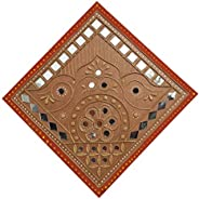 Mudwork Crafts By Majikhan Mutva Wood Decorative Wall Hanging (20 x 20 cm, Brown)