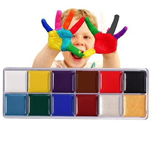 Valuemakers Halloween 12x Körpermalfarbe Körperfarbe Set Make Up Schminke Palette Gesichtsfarbe Bodypaint (Kits Up Effects Special Make)