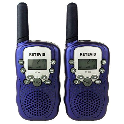 Retevis RT-388 Paire de Talkies Walkies Enfant PMR446 0.5W Ecran LCD Lampe Torch VOX (Bleu Foncé) 0705701926023