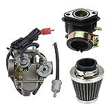 GOOFIT PD24J Carburatore Moto 24mm con Filtro Aria 42mm con Filtro Carburante del Tubo Collettore Pit Bike 125cc per 4 Tempi GY6 150cc ATV Quad Cinese Motore 157QMJ Scooter Go Kart Ciclomotore