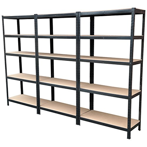 Lot de trois étagères en métal robuste de 1,8m, 5niveaux, étagère de stockage industriel sans boulon