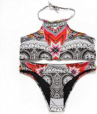 YONGYI La correa traje de baño elegante casual impresión digital étnicos, dividir el bikini