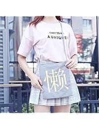 Preisvergleich für Achun Lektion Tragetaschen Cute Girl Large Capacity Damen Leinwand Handtasche Schultertasche Grau