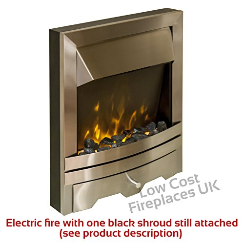 51Dm3 NO3FL. SS500  - Electric Oak Surround Cream Stone Marble Silver Flame Fire Flat Wall Big Modern LED Fireplace Suite Large Lights…