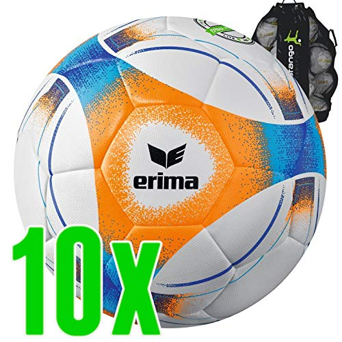 Sarango Sport Erima Hybrid Lite 290 Fußball 10er Ballpaket inkl. Ballsack NEU, Größe:5