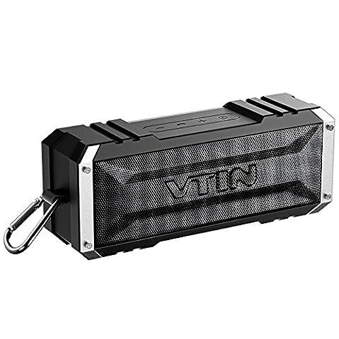 VTIN Bluetooth Lautsprecher tragbarer mit unglaublicher 25-Stunden-Akkulaufzeit und 20W Dual-Treiber, Wasserdicht Outdoor Speaker mit eingebautem Mikrofon für iPhone, iPad, Samsung, und andere (Handy Akkulaufzeit)