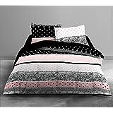 Today 015953 ENJOY Parure de lit Dessin Boudoir avec 2 Taies d'oreiller Coton Blanc/Noir/Rose 240 x 220 cm